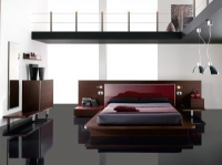 Легло венге с червен МДФ гланц